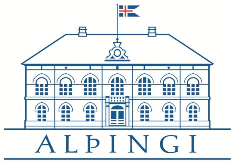 Teiknuð mynd af Alþingishúsinu með íslenska fánanum að húni.